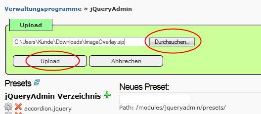 Plugin in jQueryAdmin installieren 2